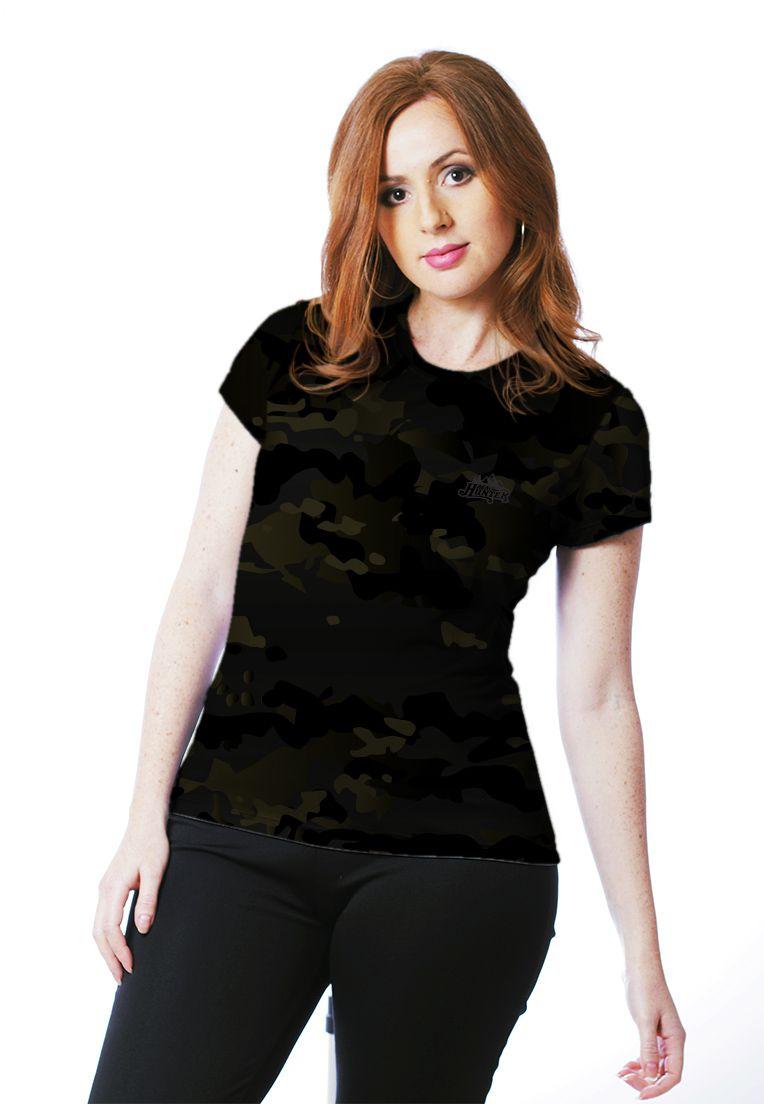 Camiseta Baby Look Camuflada Multicam Black Feminina Manga Curta  - REAL HUNTER