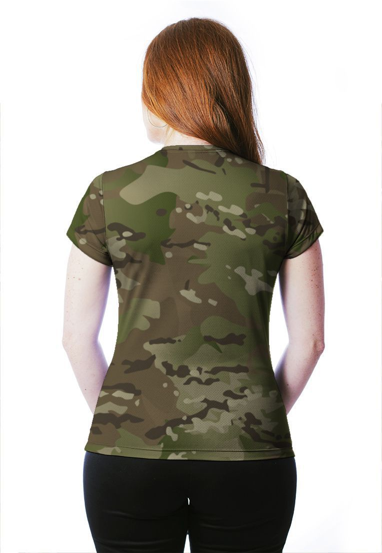 CAMISETA BABY LOOK CAMUFLADA MULTICAM MANGA CURTA FEMININA​  - REAL HUNTER OUTDOORS