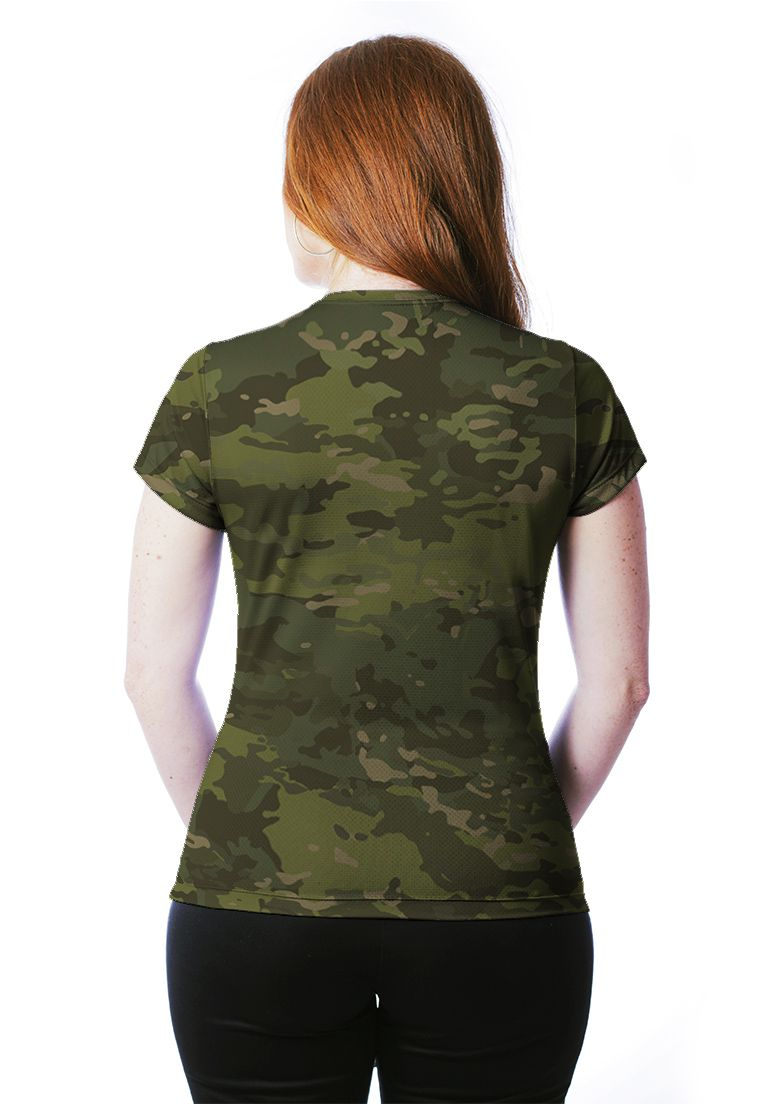 CAMISETA BABY LOOK CAMUFLADA MULTICAM TROPICAL MANGA CURTA FEMININA​  - REAL HUNTER OUTDOORS