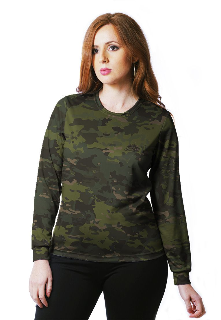 Camiseta Baby Look Camuflada Multicam Tropical Feminina Manga Longa  - REAL HUNTER