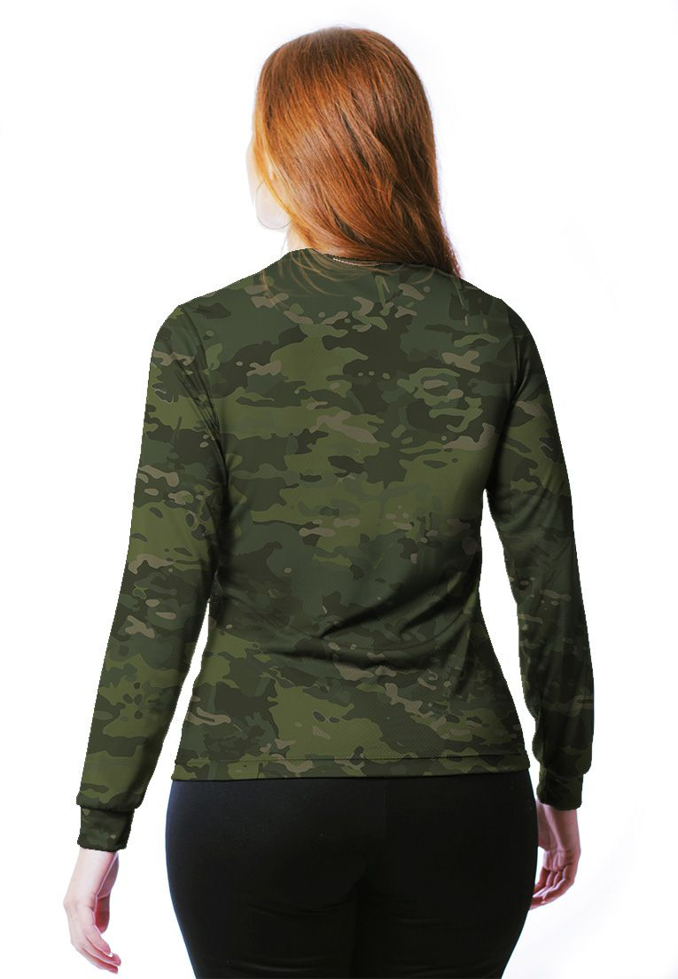 CAMISETA BABY LOOK CAMUFLADA MULTICAM TROPICAL MANGA LONGA FEMININA​  - REAL HUNTER OUTDOORS