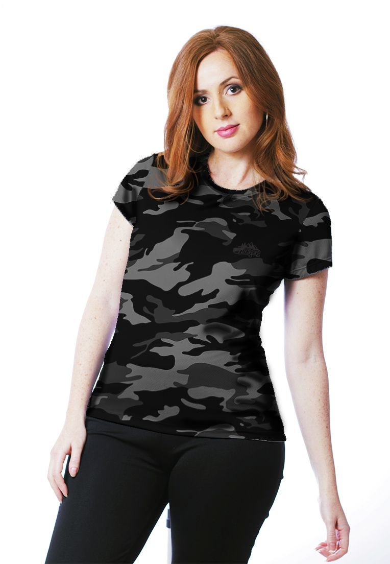 Camiseta Baby Look Camuflada Urbano Black Feminina Manga Curta - REAL HUNTER OUTDOORS