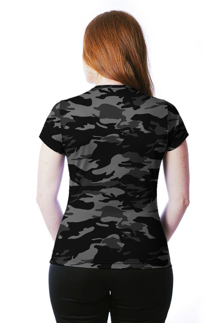 Camiseta Baby Look Camuflada Urbano Black Feminina Manga Curta  - REAL HUNTER