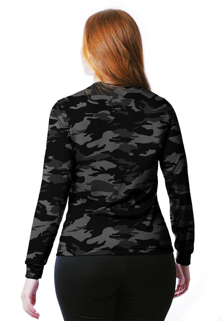 Camiseta Baby Look Camuflada Urbano Black Feminina Manga Longa  - REAL HUNTER OUTDOORS