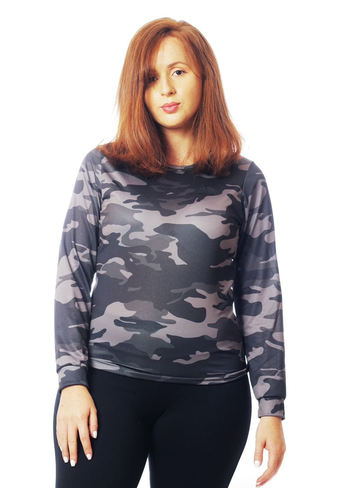 CAMISETA BABY LOOK CAMUFLADA URBANO BLACK MANGA LONGA FEMININA  - REAL HUNTER OUTDOORS