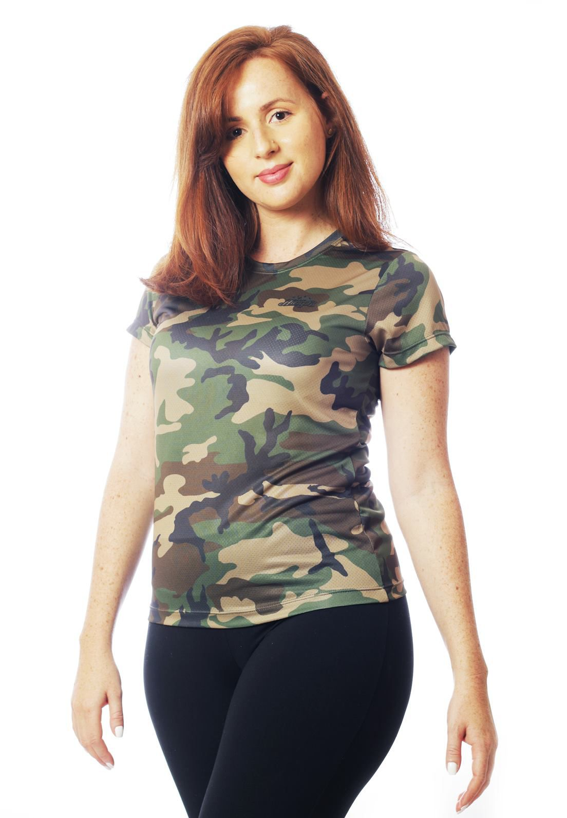 CAMISETA BABY LOOK CAMUFLADA WOODLAND MANGA CURTA FEMININA  - REAL HUNTER OUTDOORS