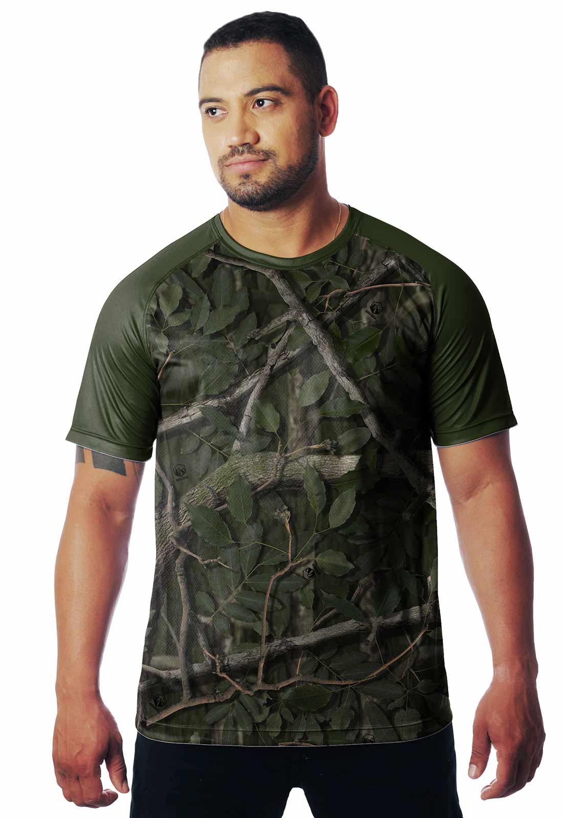 CAMISETA CAMUFLADA AMAZÔNIA DIA 01 MANGA CURTA MASCULINA  - REAL HUNTER OUTDOORS