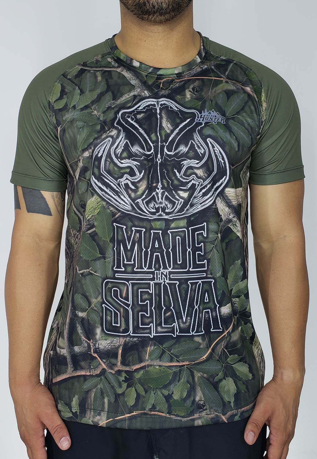 CAMISETA CAMUFLADA AMAZÔNIA JAVA HUNTER PROTEÇÃO SOLAR MANGA CURTA MASCULINA  - REAL HUNTER OUTDOORS