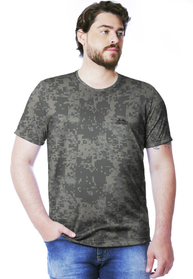 Camiseta Camuflada Digital ACU Manga Curta Masculina  - REAL HUNTER