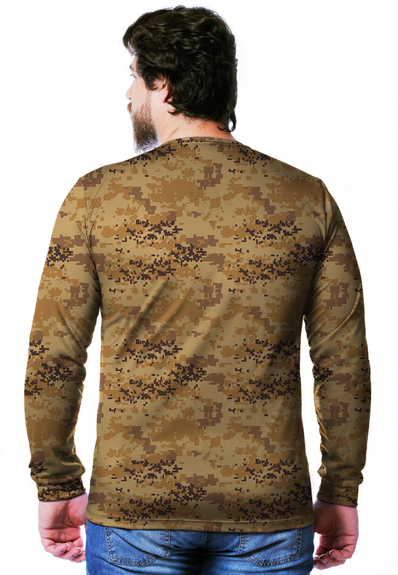 Camiseta  Camuflada Digital Deserto Longa Masculina  - REAL HUNTER