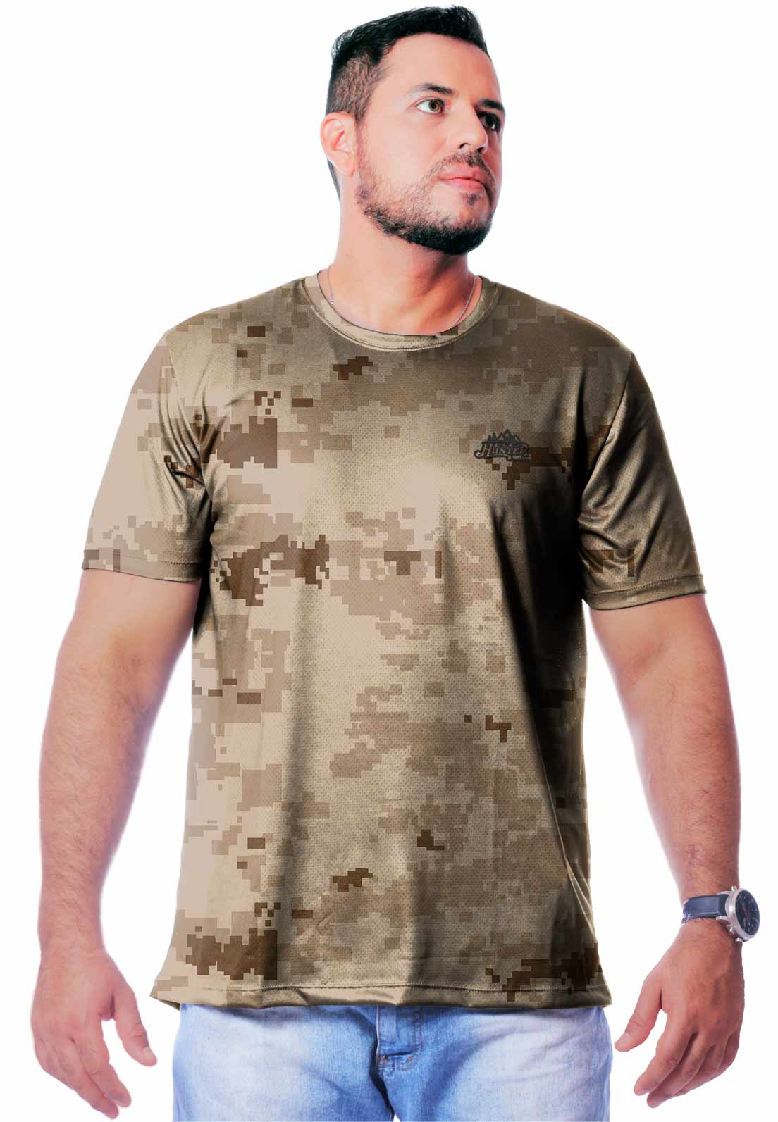CAMISETA CAMUFLADA DIGITAL DESERTO MANGA CURTA MASCULINA  - REAL HUNTER OUTDOORS
