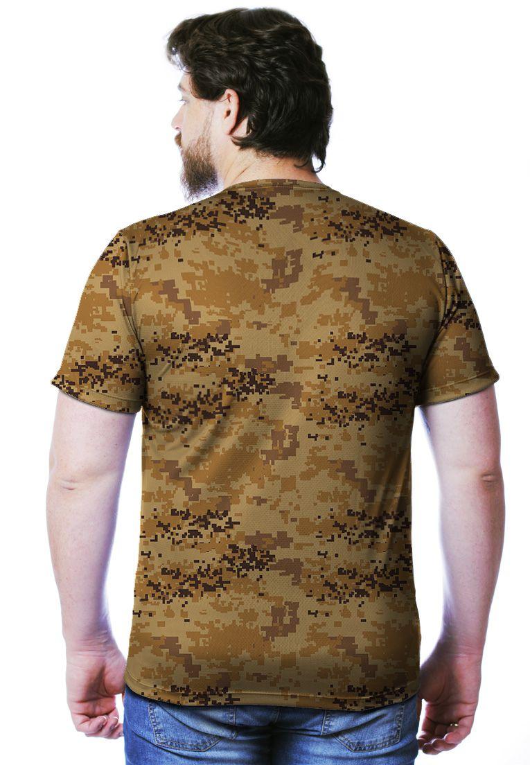 Camiseta Camuflada Digital Deserto Manga Curta Masculina  - REAL HUNTER