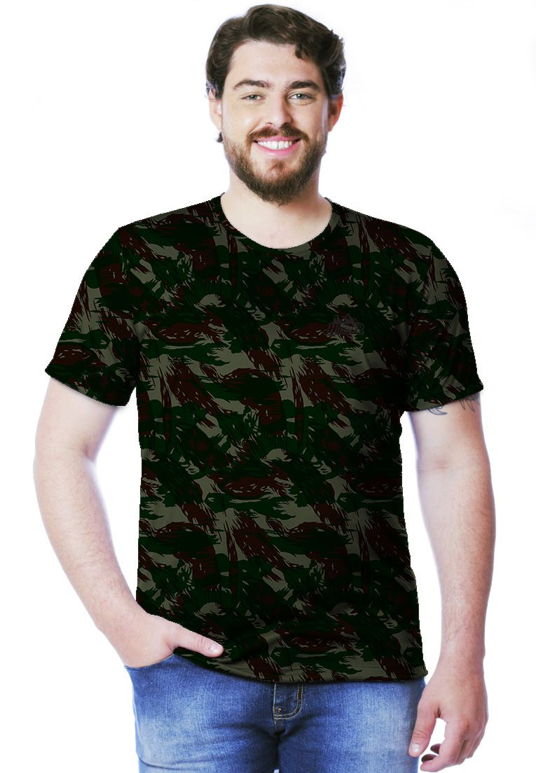 Camiseta Camuflada Exército Brasileiro Manga Curta Masculina - REAL HUNTER  ... e5a35c040a5