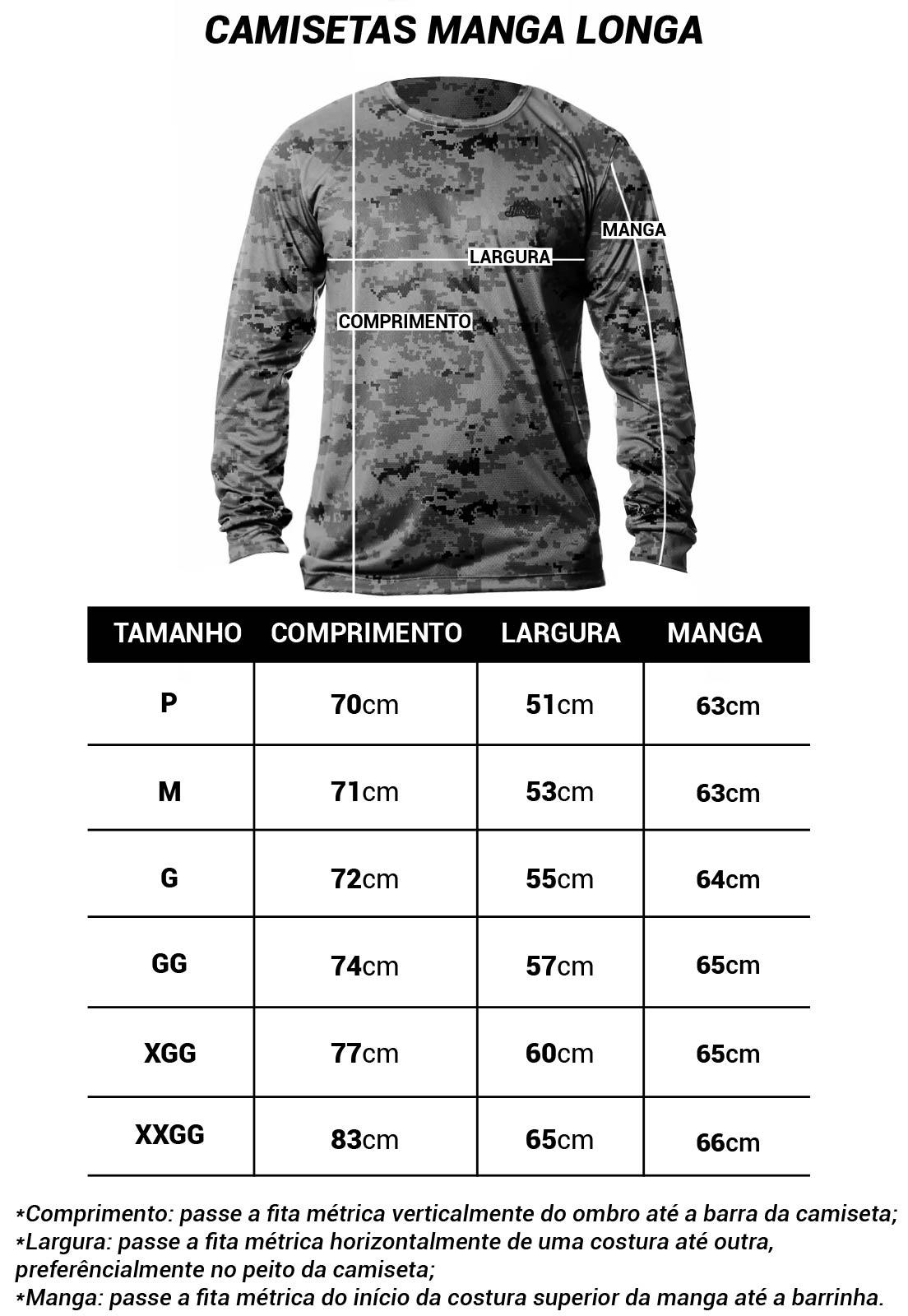 CAMISETA CAMUFLADA LAZER 11 MANGA LONGA MASCULINA  - Real Hunter