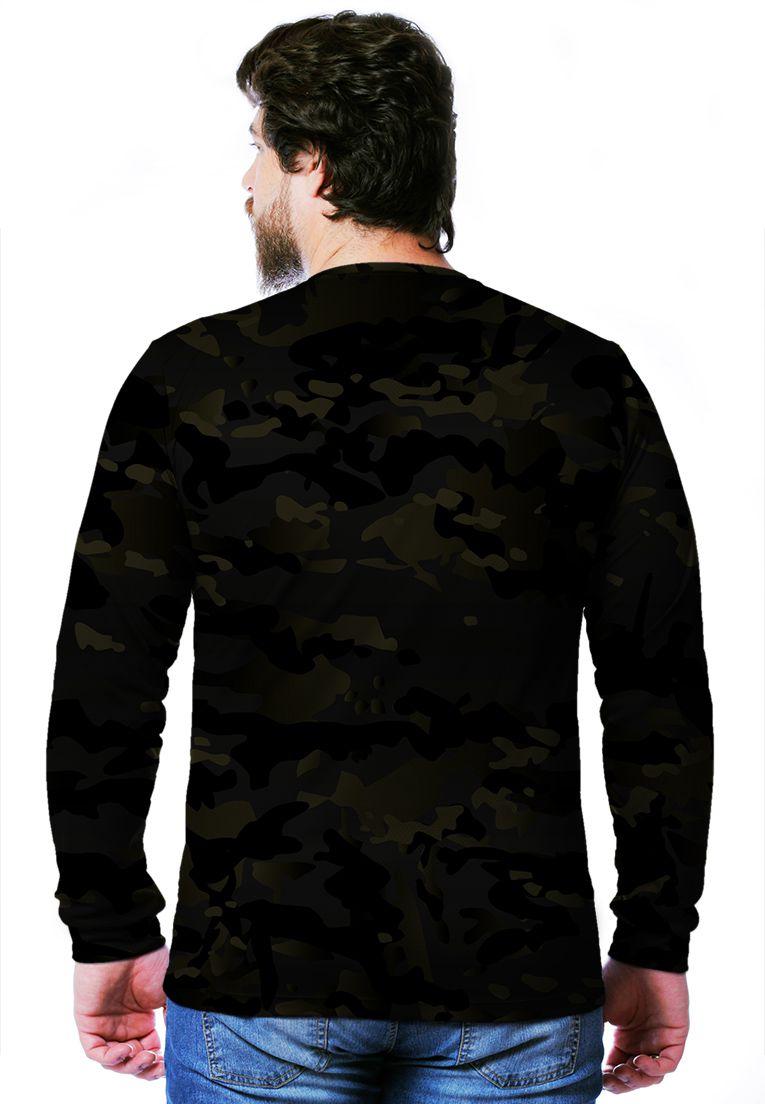 Camiseta  Camuflada Multicam Black Longa Masculina  - REAL HUNTER