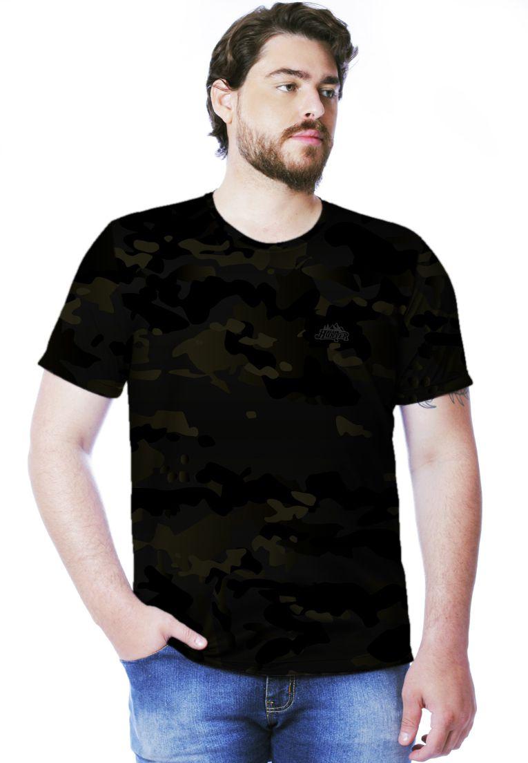 Camiseta Camuflada Multicam Black Manga Curta Masculina  - REAL HUNTER