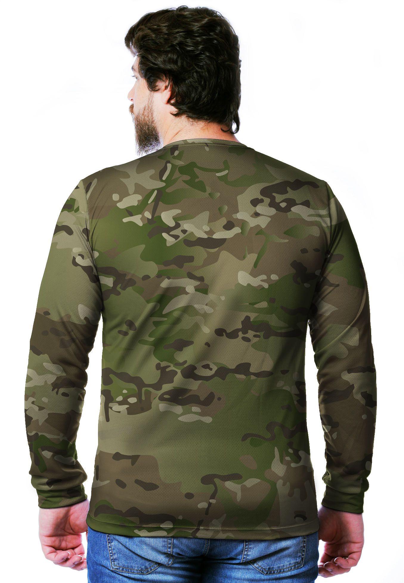 Camiseta  Camuflada Multicam Longa Masculina  - REAL HUNTER