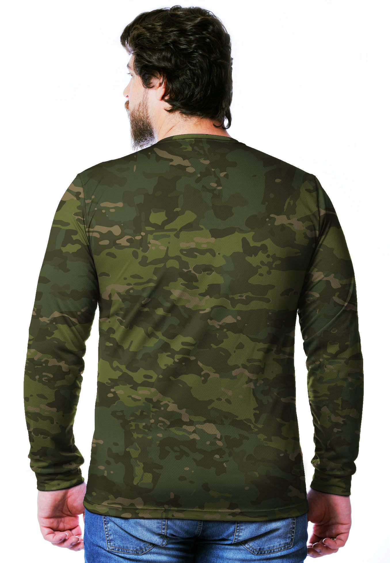 CAMISETA CAMUFLADA MULTICAM TROPICAL MANGA LONGA MASCULINA  - REAL HUNTER OUTDOORS