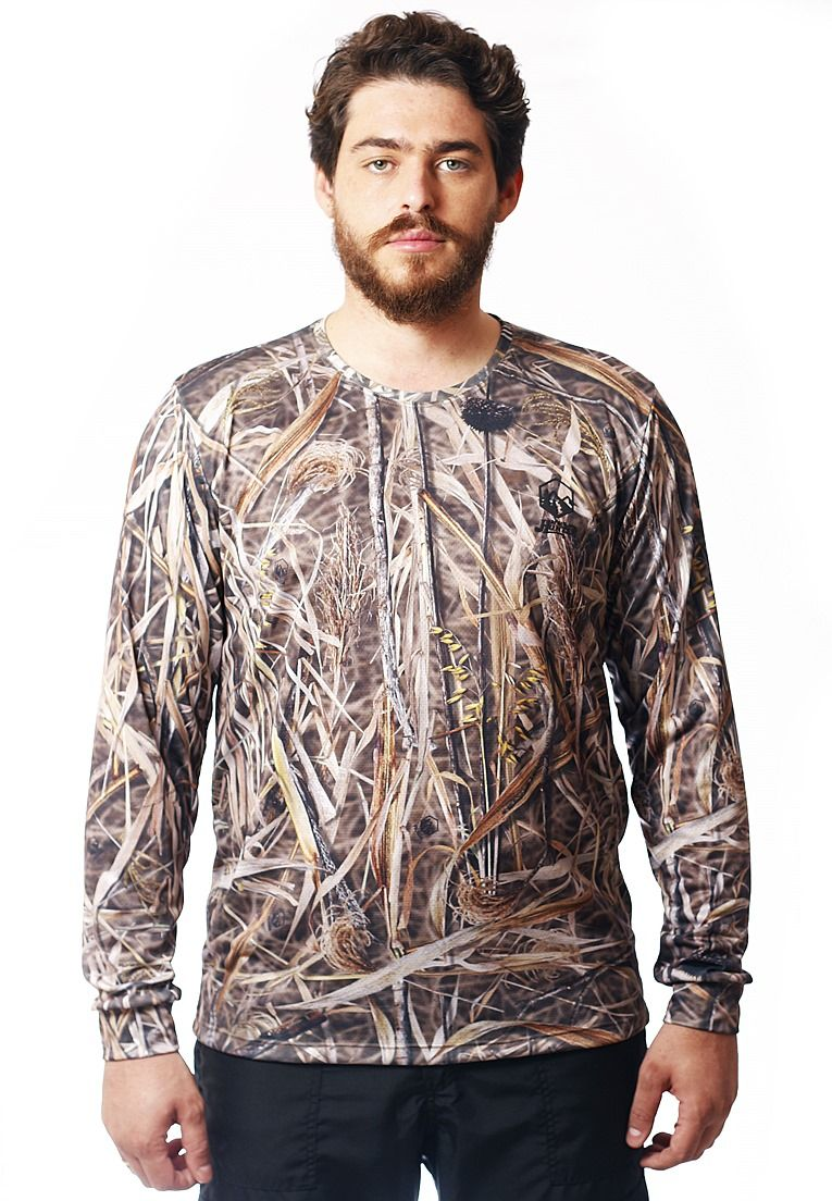 CAMISETA CAMUFLADA PALHADA MANGA LONGA MASCULINA - REAL HUNTER OUTDOORS