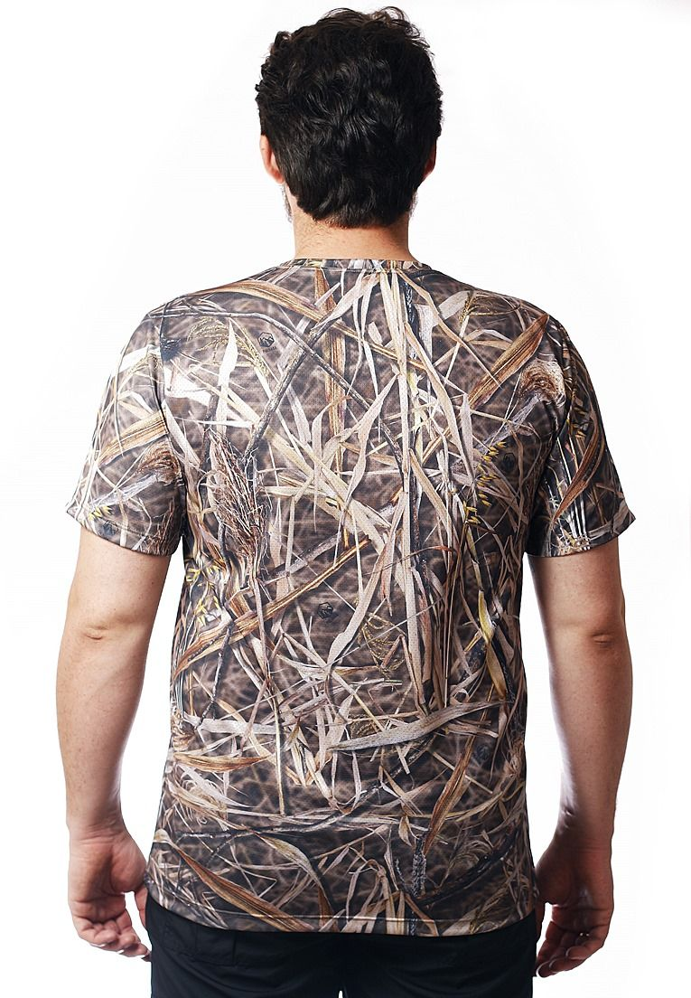 Camiseta Camuflada Palhada Manga Curta Masculina  - REAL HUNTER