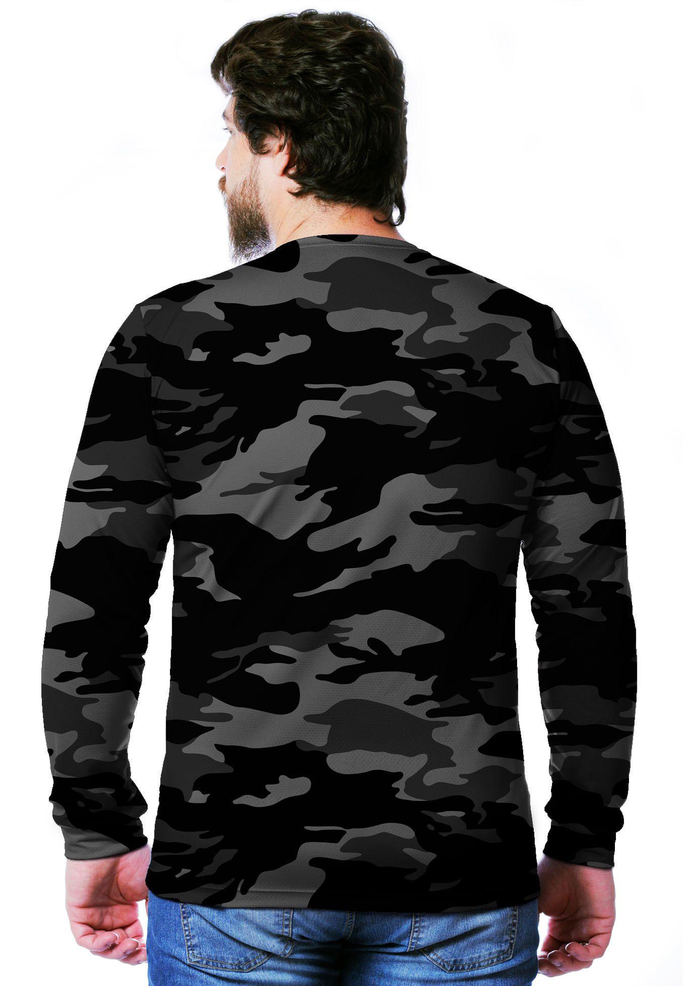 Camiseta  Camuflada Urbano Black Longa Masculina  - REAL HUNTER