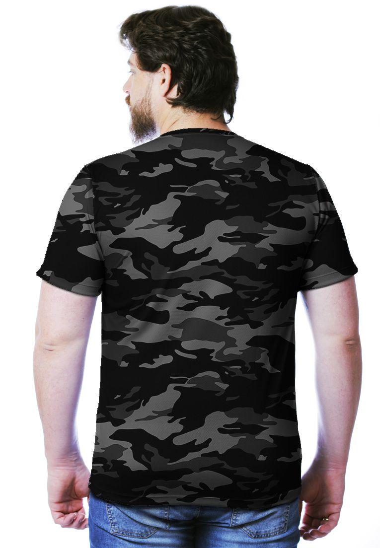 Camiseta Camuflada Urbano Black Manga Curta Masculina  - REAL HUNTER