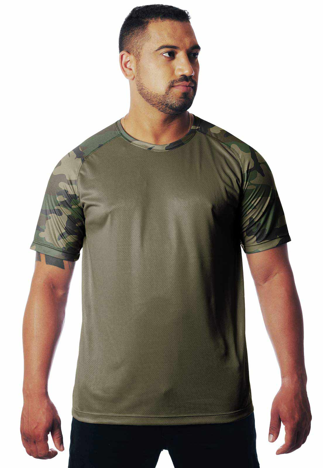 CAMISETA CAMUFLADA WOODLAND DIA 01 MANGA CURTA MASCULINA  - REAL HUNTER OUTDOORS