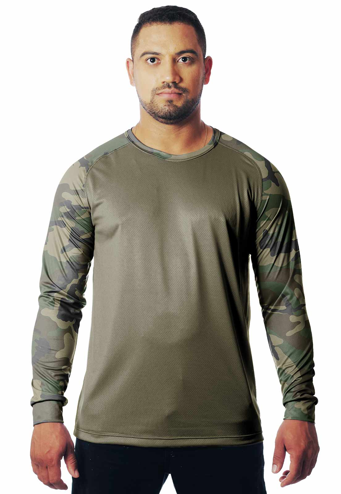 CAMISETA CAMUFLADA WOODLAND LAZER 22 MANGA LONGA MASCULINA  - REAL HUNTER OUTDOORS