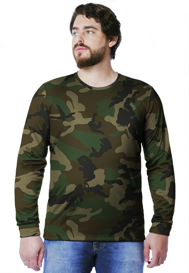 Camiseta  Camuflada Woodland Longa Masculina  - REAL HUNTER