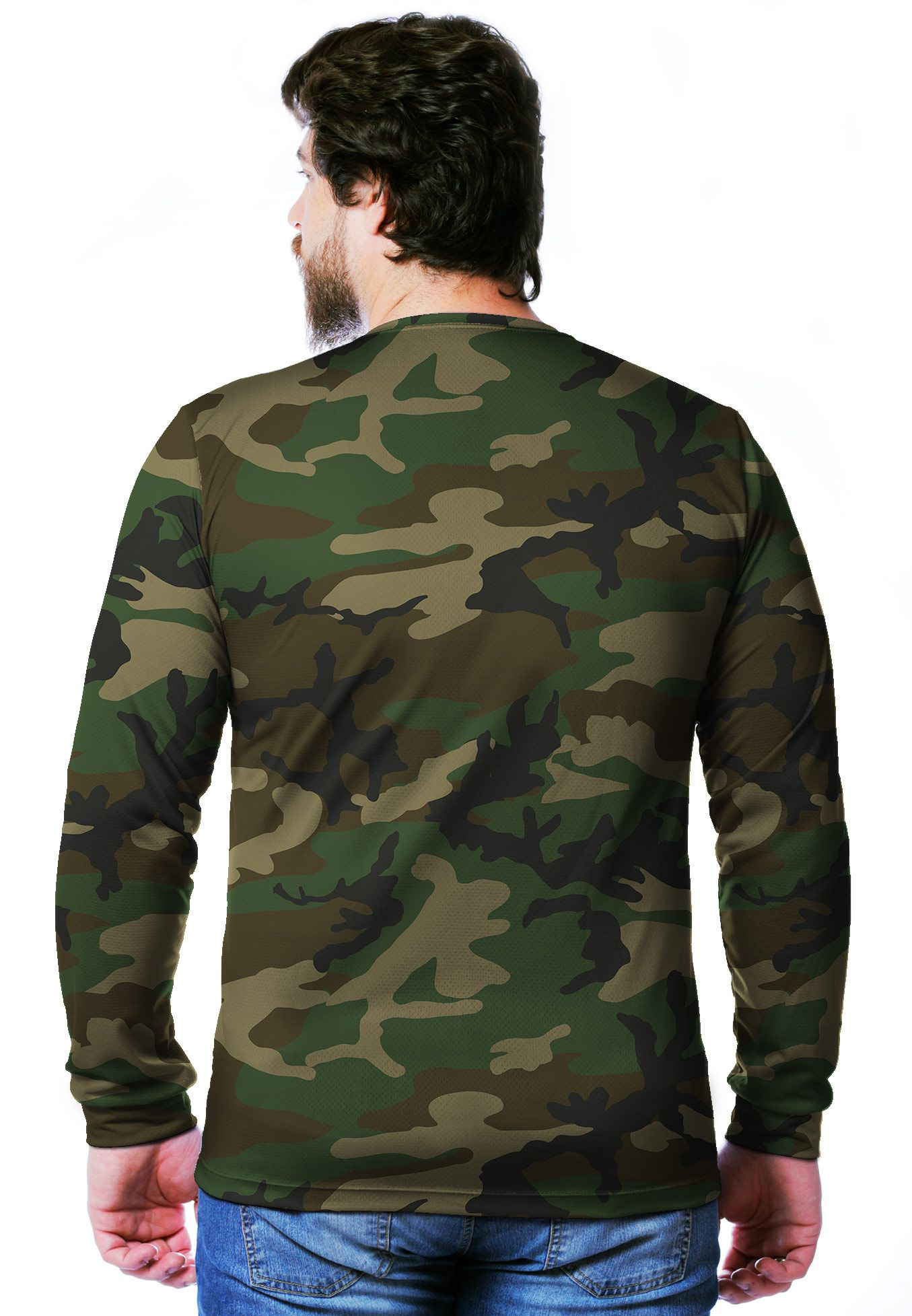 CAMISETA CAMUFLADA WOODLAND MANGA LONGA MASCULINA  - REAL HUNTER OUTDOORS