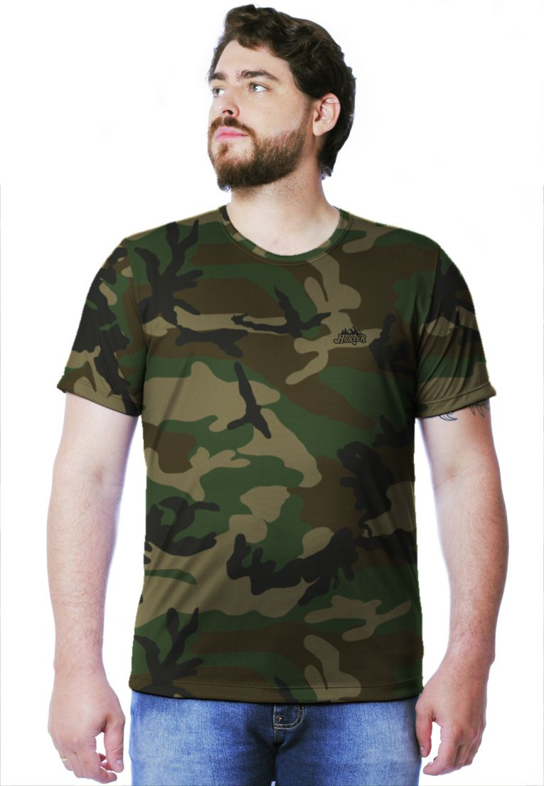 CAMISETA CAMUFLADA WOODLAND MANGA CURTA MASCULINA  - REAL HUNTER OUTDOORS