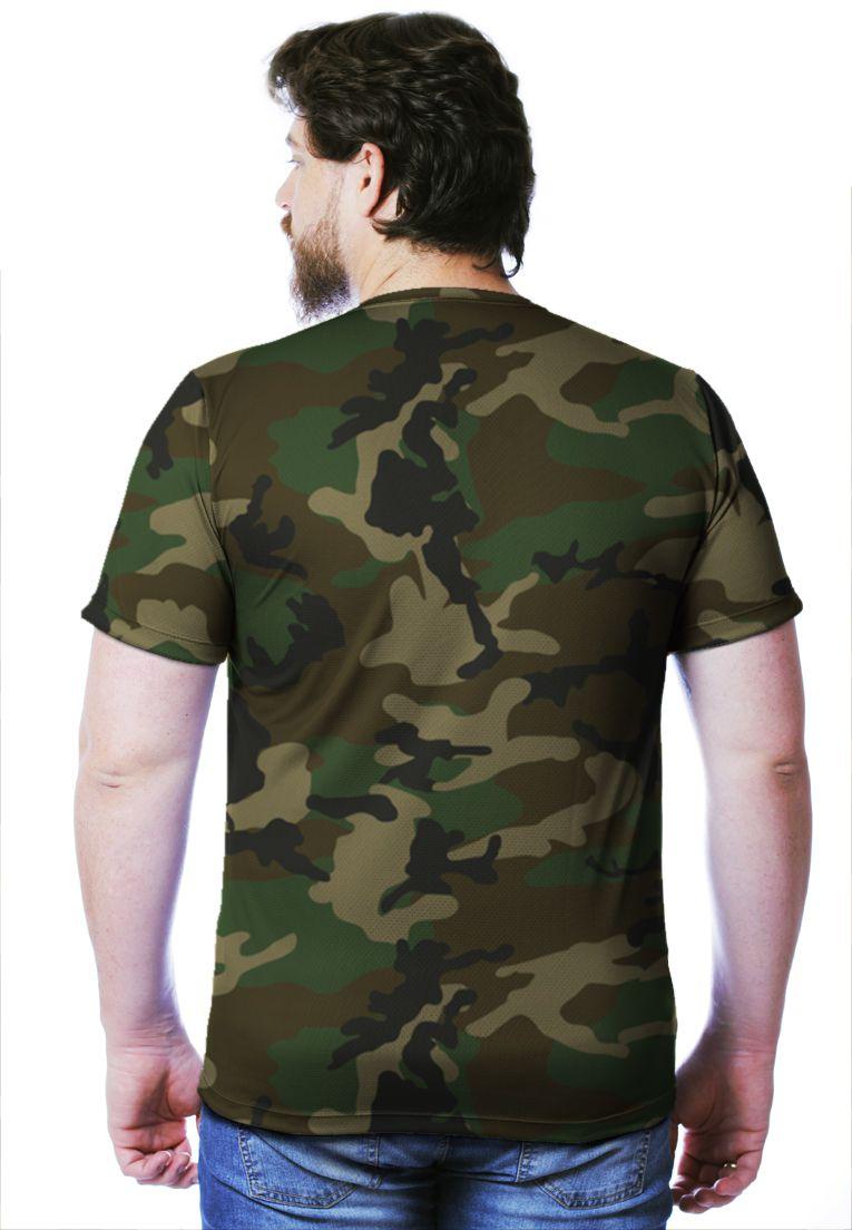 Camiseta Camuflada Woodland Manga Curta Masculina  - REAL HUNTER