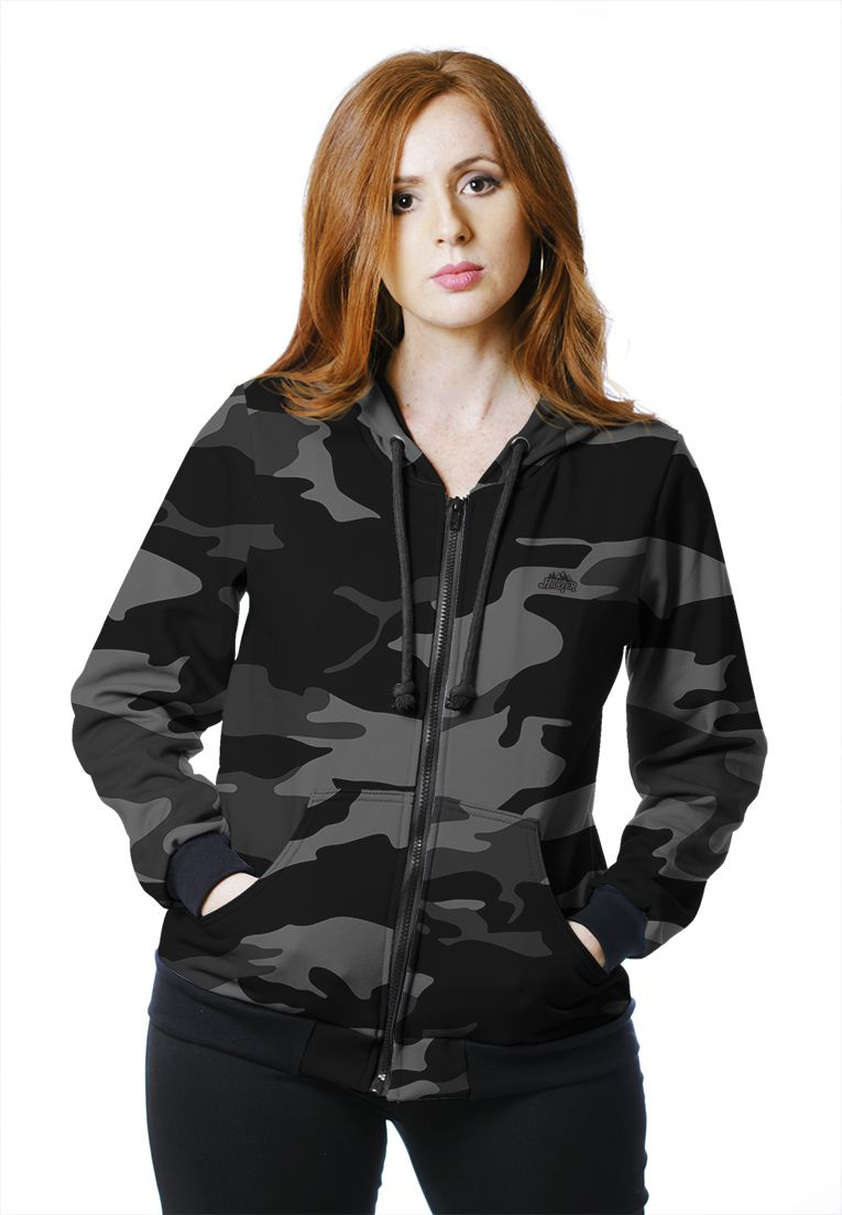 Moletom Camuflado Feminino Urbano Black Aberto  - REAL HUNTER OUTDOORS