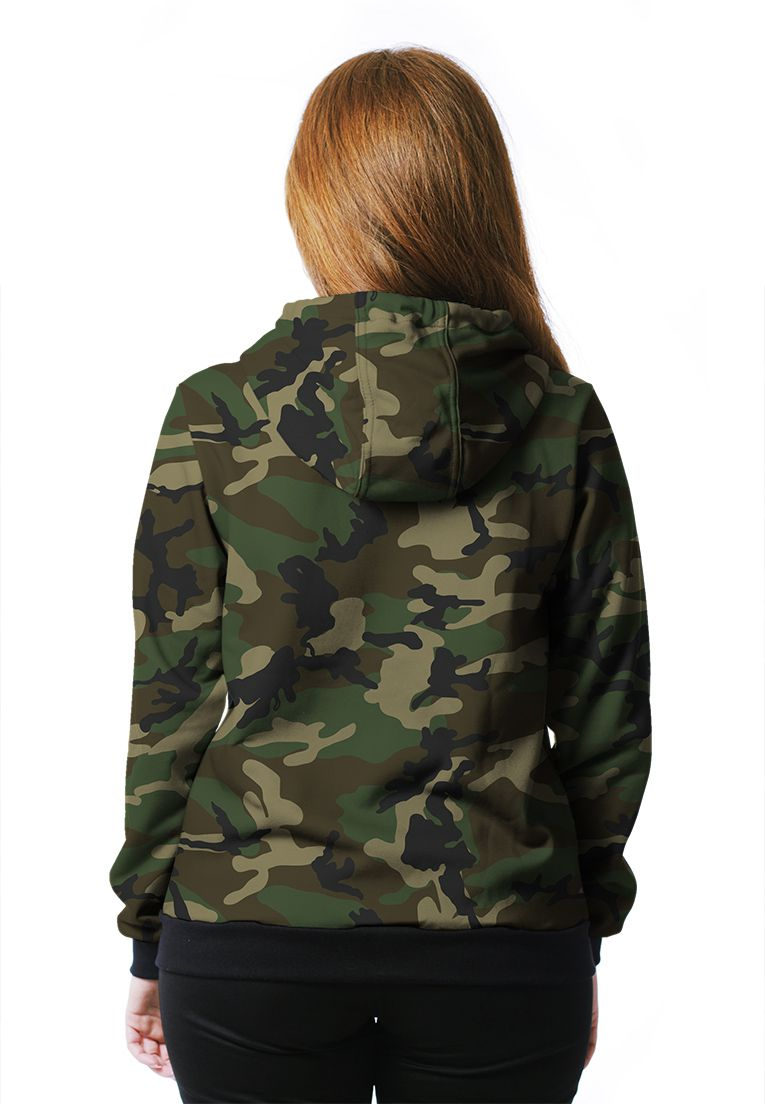 Moletom Camuflado Feminino Woodland Aberto  - REAL HUNTER OUTDOORS