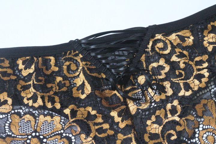 Calcinha de tule e renda preto/dourado
