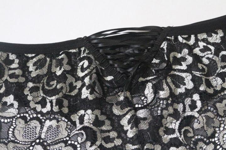 Calcinha de tule e renda preto/prata