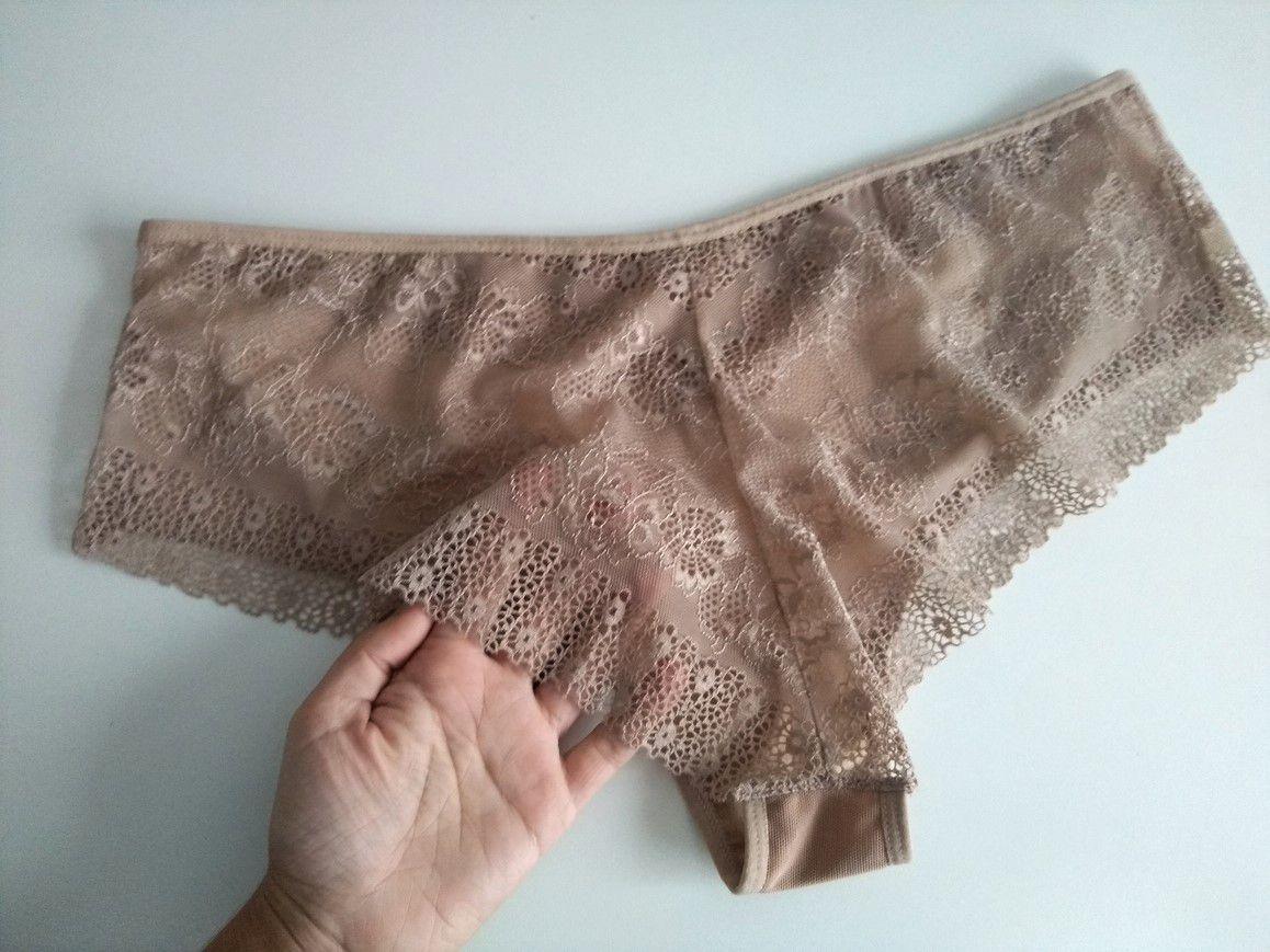 Calcinha tule/renda nude