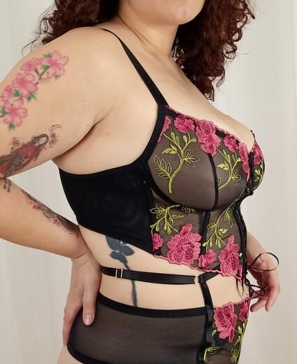 Cropped Francesa (bordado Rosas)
