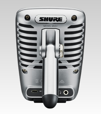 Microfone Shure condensador Multiuso digital com diafragma grande para Mac, PC, iPhone, iPod e iPad - MV51