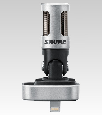 Microfone Movel Shure condensador estéreo digital para iPhone, iPod e iPad - MV88