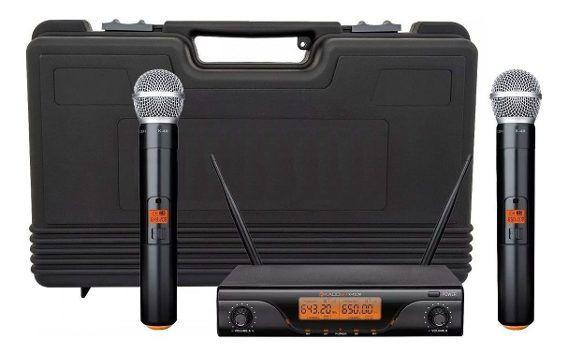 Microfone Sem Fio Kadosh Duplo de Mão - KSDM-412M