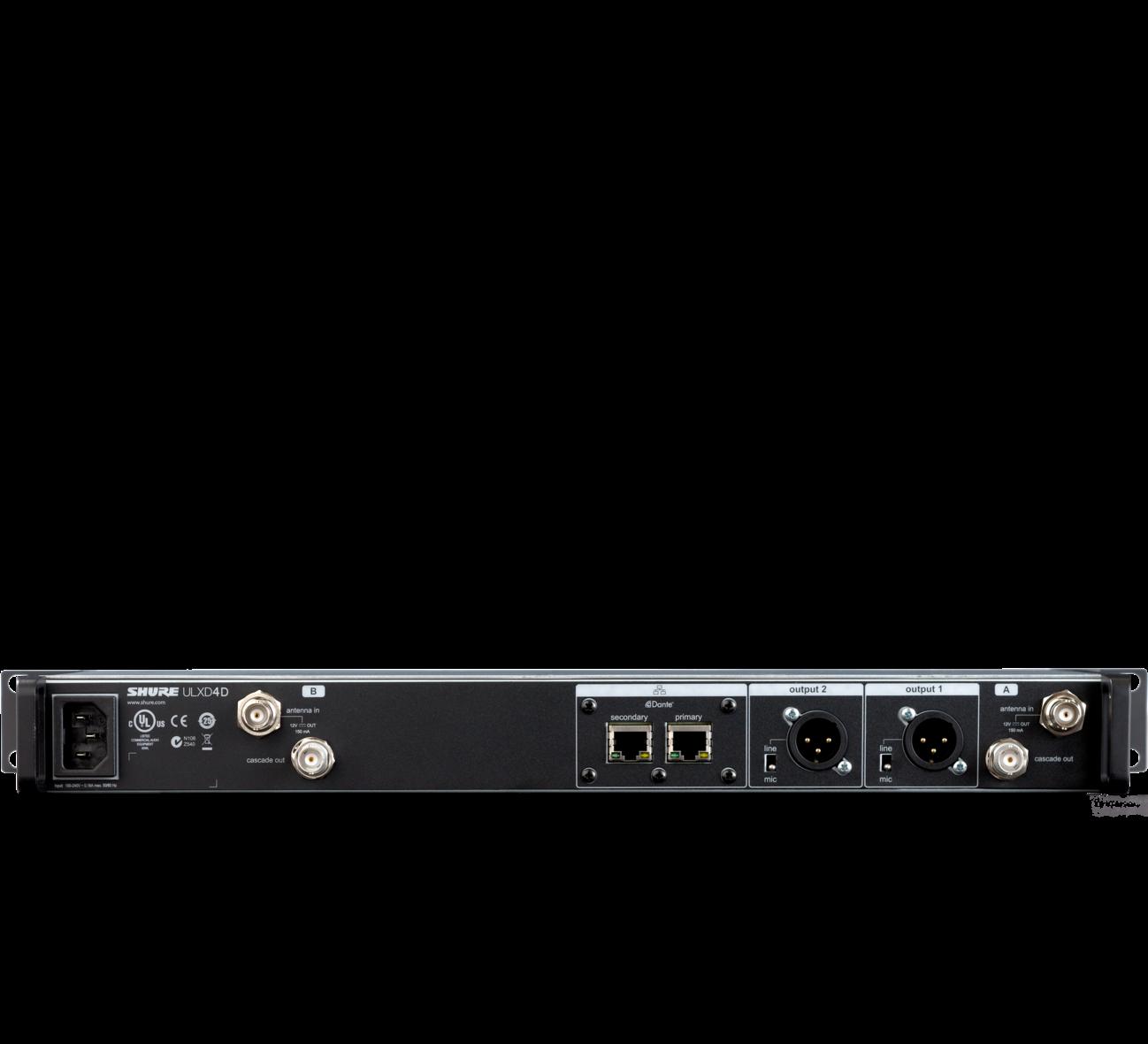 Receptor Shure Digital Com 2 Canais Sistema ULXD - ULXD4 D