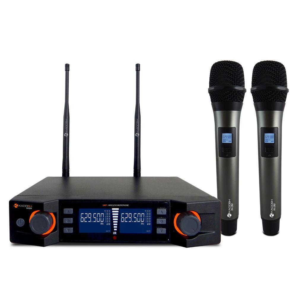Sistema de Microfone sem Fio Duplo de mão Kadosh UHF - K-492M