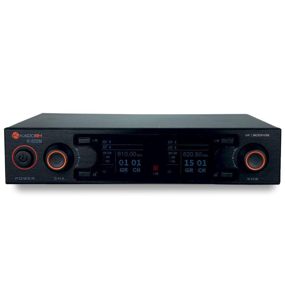 Sistema de Microfone sem Fio Duplo de Mão  Kadosh UHF - K-502M