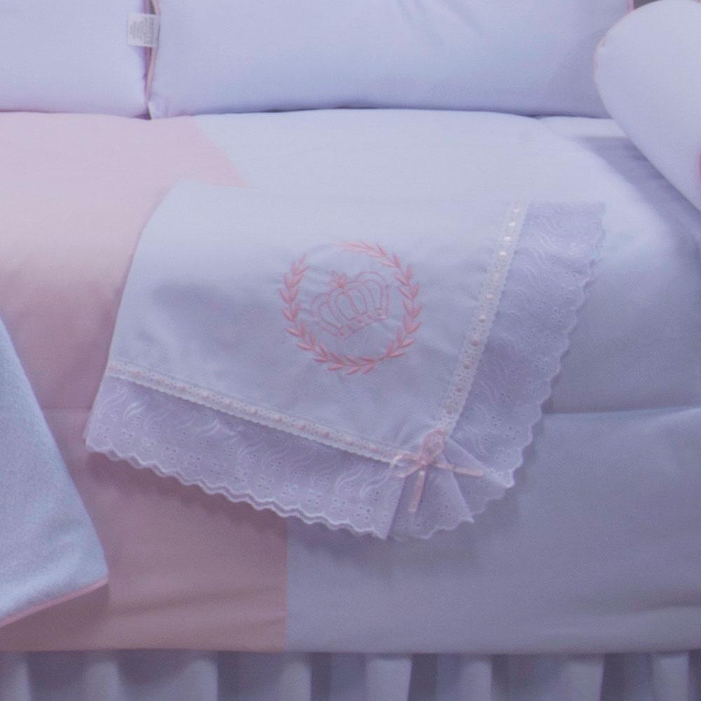 Manta de Piquet Realeza Rosa 100% Algodão com Lasie