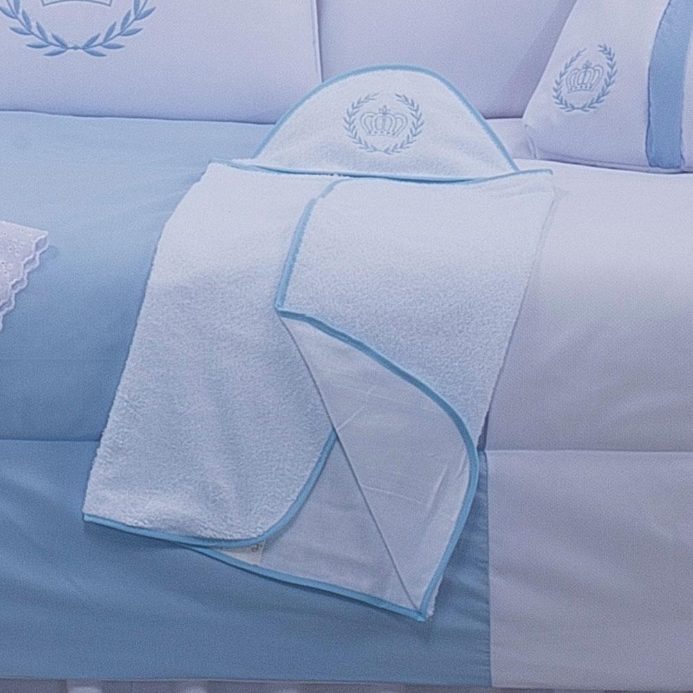 Toalha com Capuz Bordado - Realeza Azul