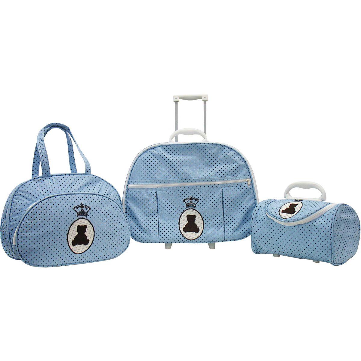 Kit de Bolsa Maternidade Urso na Medalha Azul com Poá 3 peças + Brinde