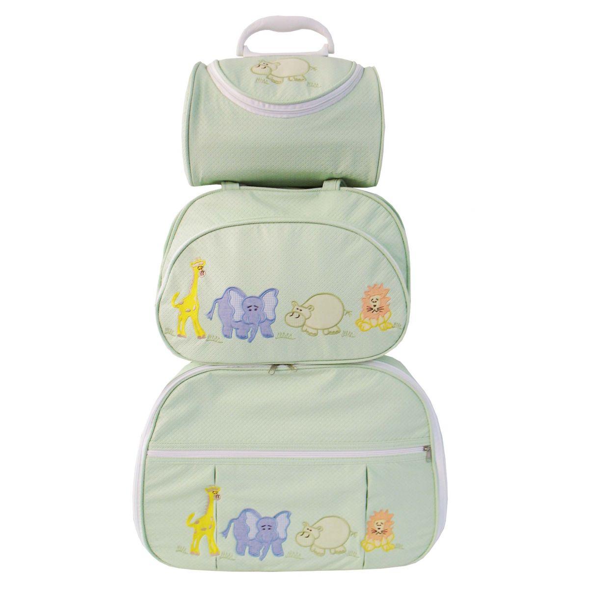 Kit de Bolsa Maternidade Safari Verde 3 peças