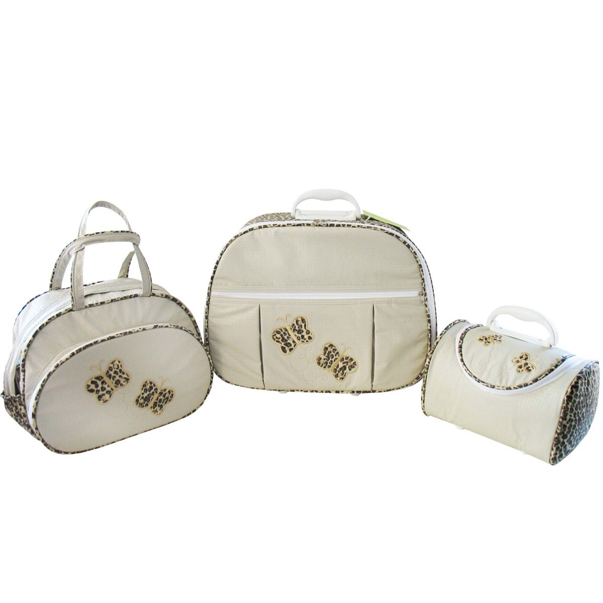 Kit de Bolsa Maternidade Borboleta Palha com Onça 3 peças + Brinde