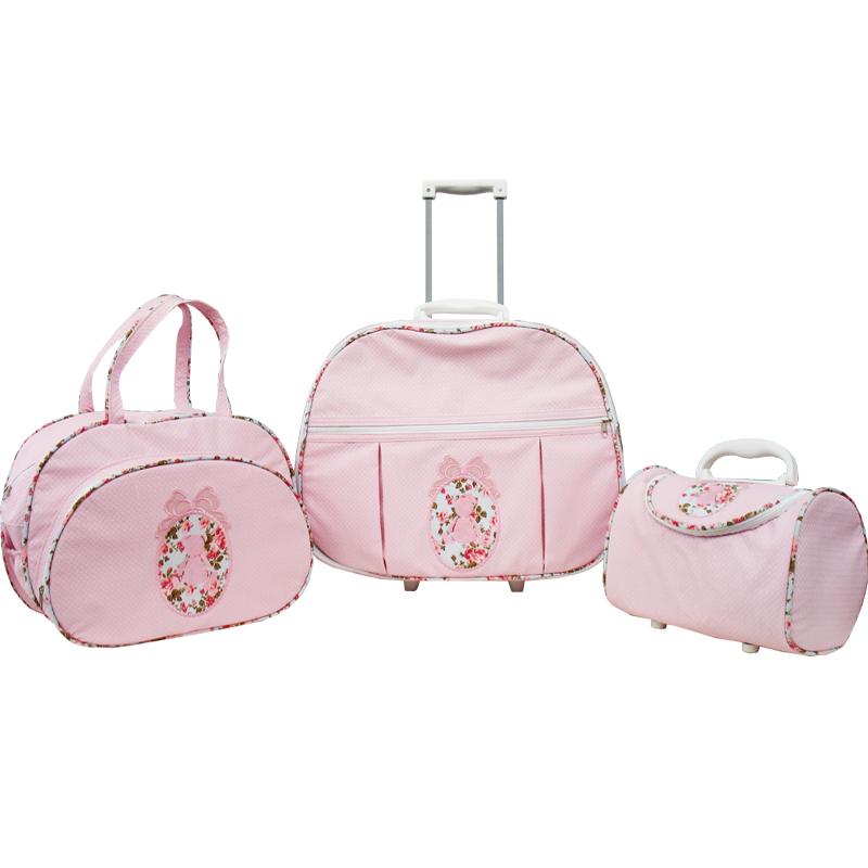 Kit de Bolsa Maternidade Ursa Laço Floral Rosa 3 peças + Brinde